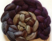 Hand dyed roving for spinning alpaca silk 3.7ozs Belladonna