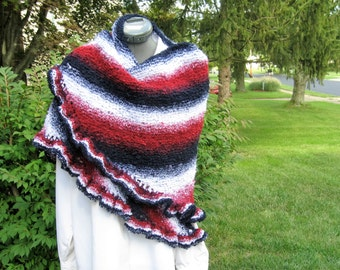 Handknit Shaded Navy, Red & White Triangle Shawl with Ruffled Edge