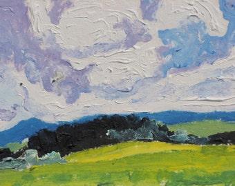 Art ACEO Landscape Oil Painting Original Blue Sky Cloud Appalachian Impressionist Trading Card 2.5 x 3.5 Quebec Canada By Founier no 2015-14