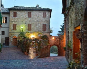 Pienza Tuscany Italy Photograph Italian Night Scene Cafe Toscana Siena, Val d'Orcia, Renaissance town, Poster, Print, UNESCO, Umbria, photo