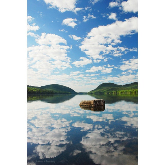 Acadia maine long pond photo of reflection on lake with clouds for Acadia national park fishing