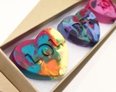 Kid's VALENTINE Crayons - Conversation Heart Rainbow Crayons (set of 3 Recycled Crayons in Gift Box)