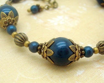 Handmade Neo Victorian Bracelet, Swarovski Pearl, Petrol Blue with Antiqued Brass Bead Caps, Jewelry, Adjustable, American Made