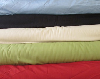 SALE - Cotton French Twill Fabric per yard, 6 color choices, Navy, Sage, Bone, Cranberry, Sky Blue, clothing, crafts, skirts, slacks, shorts