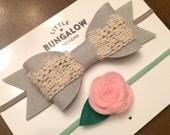 Grey Bow & Lace Felt Bow Headband // Pink Rose // Felt Flower // Lace Bow // Photo Prop // Baby Headband // Wool Felt // Hair Clip // Gray