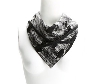 Black and Off White Neckerchief Scarf Scarflette Distressed Knit