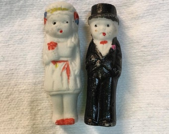 Vintage Bride and Groom cake topper bisque dolls (AAA17) made in Japan Frozen Charlottes Wedding supplies