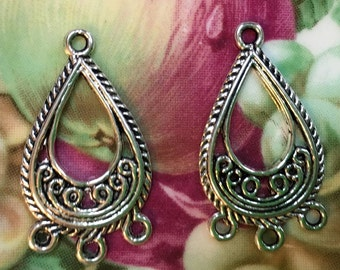 silver  filigree connectors earring findings drop,   metal jewelry supplies  ( DRW15) quantity  6