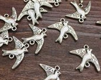 bird connector  charm Pendants    jewelry findings supplies (G11)  quantity 8