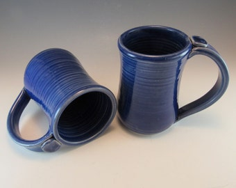 Large Pottery Blue Coffee Mugs/Tea Mugs/Beer Steins-Set of 2 Coffee Cups