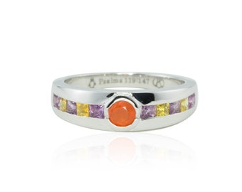 Men's Wedding Band - Men's Ring with Bezel set Cabochon Carnelian and Channel set Yellow and Purple Sapphires - LS4376