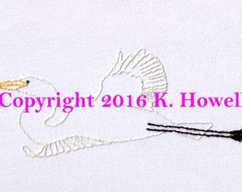 Egret Hand Embroidery Pattern, Bird, Flying, Flight, Audubon, Waterfowl, PDF
