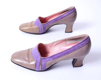 60s Two Tone Pumps Lavender Suede Taupe Leather 8