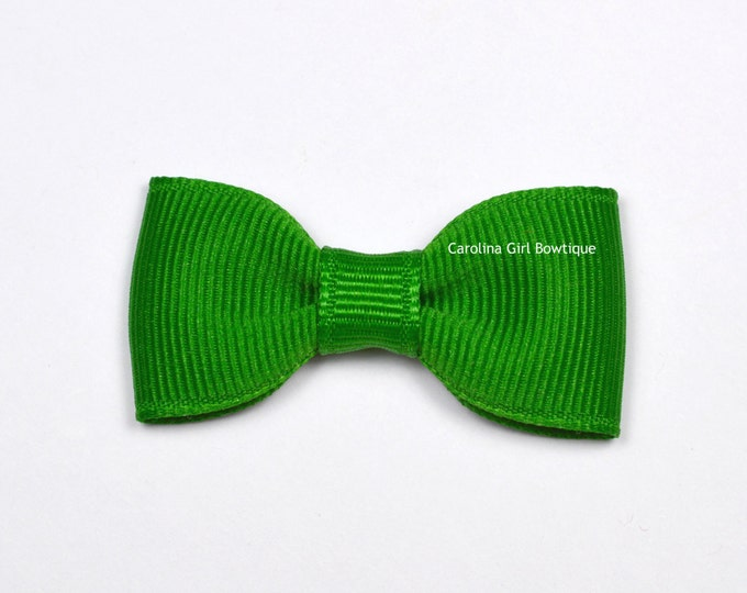 Emerald Green Baby Hair Bow ~ 2 in. Bow with No Slip Grip ~ Small Hair Bows Newborns Toddler Girls