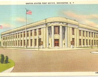 United State Post Office, Rochester, NY  Vintage 20's -40's Linen Postcard