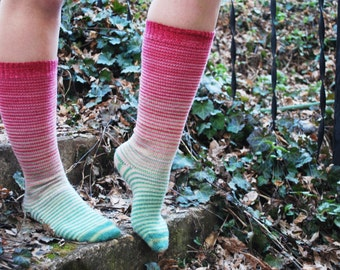 Watermelon Gradient Stripes Matching Socks Set, 2-50g Cakes, Lavish (dyed to order)