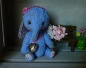 OOAK Handmade 6 inch viscose Artist Teddy Elephant  Little Blue