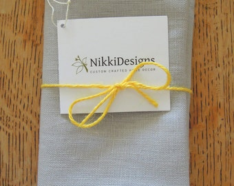 Pure Linen Grey Tea Towel, Kitchen Linens, Hand Towel, Dishcloth, Light Gray