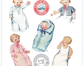 E-Pattern- 1930's Baby Layette Pattern- Wearing History PDF Sewing Pattern