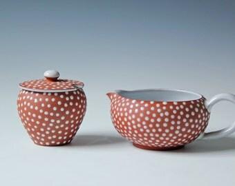 Mid-century Denmark Zeuthen creamer and sugar - art pottery redware Danish Keramik - polka dots