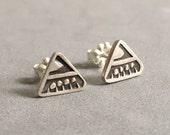 Triangle stamped sterling silver studs, Navajo inspired, tribal, chevron