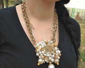 Pearl Necklace Wire Wrapped Loaded w/ Pearl & Shells for the Bride