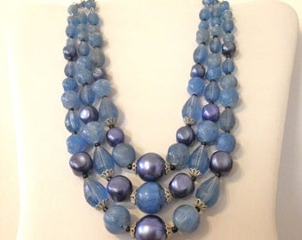Blue Necklace Vintage 50s THREE strand Made in West Germany *