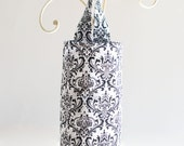 Plastic Grocery Bag Holder Black and White Flourish Fabric
