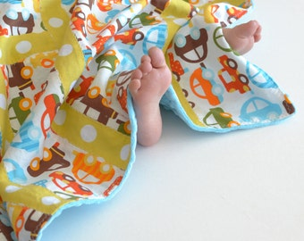 Baby Blanket, Small Patchwork for Baby Ready Set Go Cars (2) with Turquoise MInky