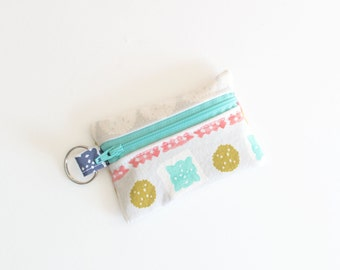 Zippered Pouch, Small Card Case, Ear Bud Case Paper Cuts