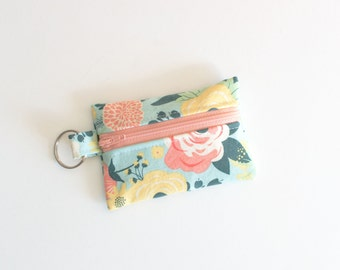 Small Zipper Pouch, Ear Bud Holder, Credit Card Case, Fabulous Mint Flowers