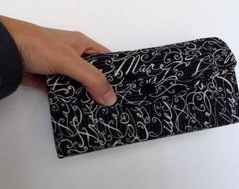 Accordion Clutch Wallet - Long Wallet - Organizer - Cotton Fabric - Black Ivory French Script - Errand Runner - Evening Bag