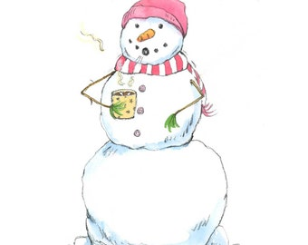 Snowman drinking hot chocolate - Silly Snowman Watercolor Print - red striped scarf - Holiday Wall Art - Watercolor Print