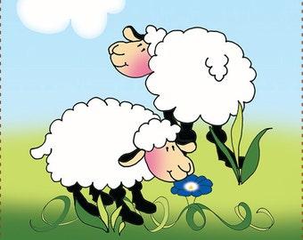 "4"" Sheep Fabric Art Panel"