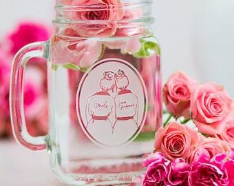 CUSTOM MASON JAR glass//Bridesmaid/Maid/Matron of Honor/Bridesman//Etched glass mason jars