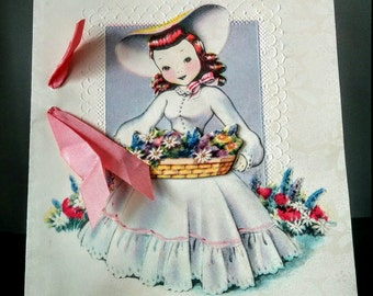 Vintage 1940s or 50s Birthday Greeting Card with Ribbon Embossed 3D Basket of Flowers used