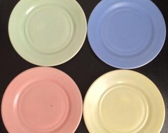 Hazel Atlas Little Hostess Plates, Pastel Colors Milk Glass for Hors D'oeuvres or Children's Toy Sets, Set of 4