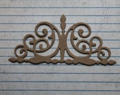 4 Scrolled Flourish Accent Bare chipboard die cuts 3 7/8 inches wide x 1 3/4 inches tall