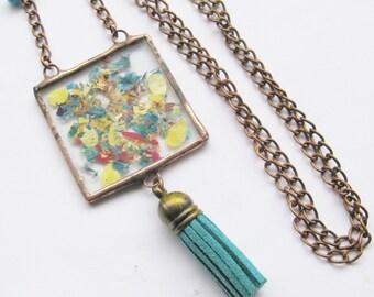 tassel necklace - flower petal necklace - long necklace - real flower necklace - pressed flower jewelry - fringe necklace
