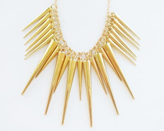 gold spike necklace - fringe necklace - gold necklace - statement necklace - dagger - chunky necklace - spike necklace