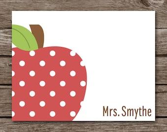 PRINTABLE Teacher Note Cards, Teacher Notecards, Apple Note Cards, Apple Cards, Personalized Note Cards,