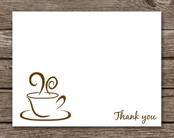 Coffee Note Cards - Notecards - Thank You - Latte - Coffee Mug - Coffee Cup - Personalized - Set of 8