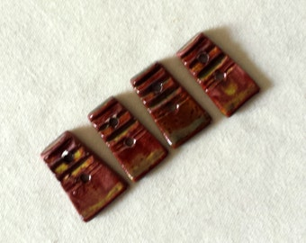 Four (4) Small Handmade Wedge Buttons - Autumn Leaves
