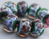 Lampwork Beads - Boro Beads - Shimmer Teal Green and Purple Brown