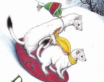 Dashing Ermine Card from an Original Pen and Colored Pencil Drawing Holiday