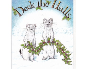 Decking Ermine Boxed Card Set of 6 Original Pen and Colored Pencil Drawing Holiday