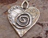 Sacred Spiral Heart Charm in Sterling Silver, 72d