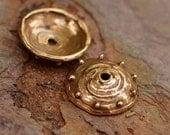 Dots on the Bead Cap in Bronze 160s, Two Artisan Beadcaps