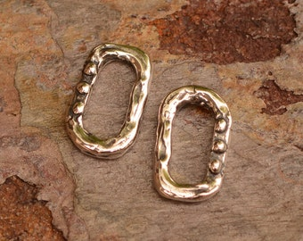 Two Rectangle Links with Dots, Sterling Silver Dotted Links, L-580