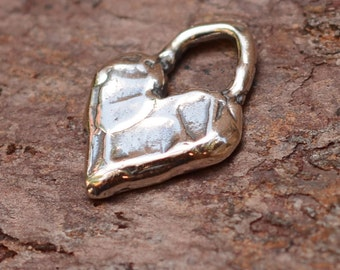 One Artisan Chunky Heart Charm in Sterling Silver, AD522